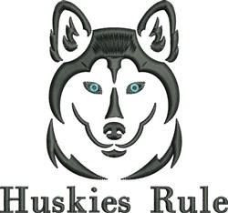 Huskies Rule embroidery design