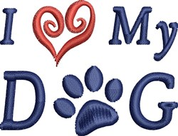 Dog Paw Love embroidery design