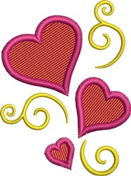 Three Hearts embroidery design