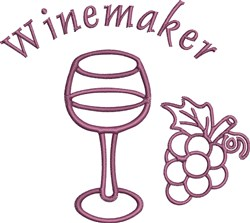 Winemaker Glass embroidery design