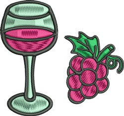 Wine Glass  Grapes embroidery design