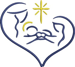 Baby Jesus Heart embroidery design