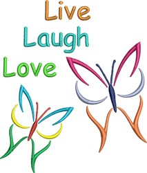 Live Laugh Love Butterflies embroidery design