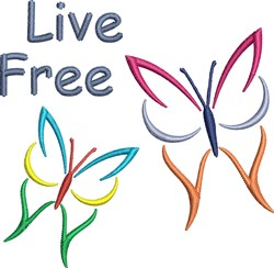 Live Free Butterflies embroidery design