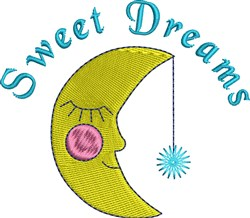 Sweet Dreams Crescent Moon embroidery design