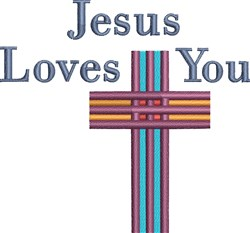 Jesus Loves You Cross embroidery design