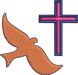 Dove And Cross embroidery design
