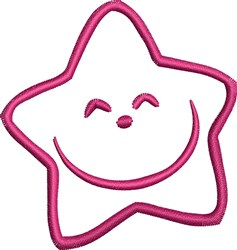 Happy Star Outline embroidery design