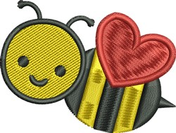 Heart Bee embroidery design