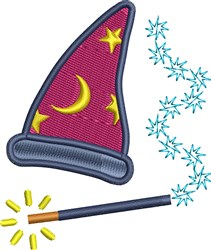 Wizard Hat And Wand embroidery design