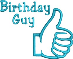 Thumbs Up Birthday Outline embroidery design
