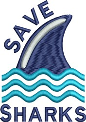Save Sharks embroidery design