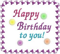 Birthday Saying embroidery design