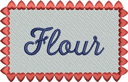 Pink Heart Flour Label embroidery design