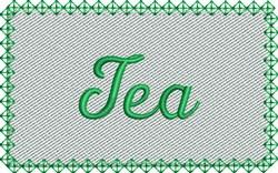 Green Tea Label embroidery design