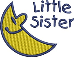 Happy Crescent Little Sister embroidery design