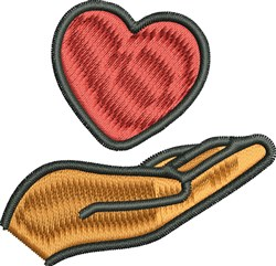 Heart and Hand embroidery design