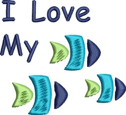 Love My Fish embroidery design