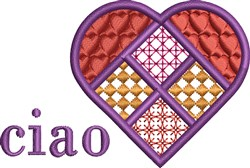 Ciao Heart embroidery design