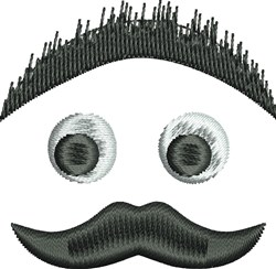 Mustache Face embroidery design