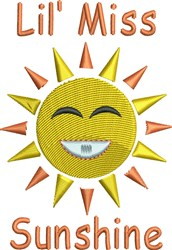 Lil Miss Sunshine embroidery design