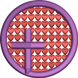 Cross In Heart Circle embroidery design