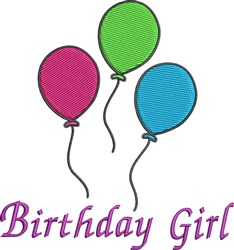 Birthday Girl Balloons embroidery design