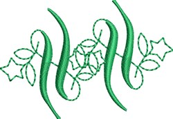 Elegant Green Monogram Accent embroidery design