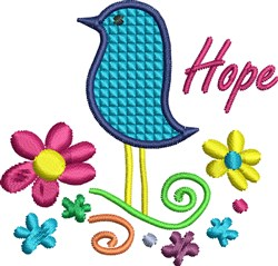 Bird and Flowers Hope embroidery design