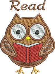 Bookworm Owl Read embroidery design