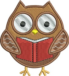 Book Worm Owl embroidery design