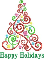 Happy Holidays Christmas Tree embroidery design
