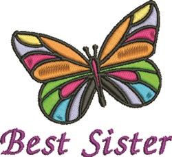Best Sister Butterfly embroidery design