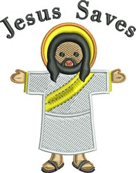 Cute Jesus Saves embroidery design