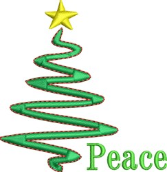 Holiday Tree Peace embroidery design
