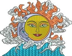 Sun Moon Ocean embroidery design