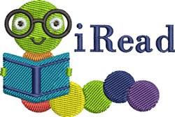 iRead Bookwrm embroidery design