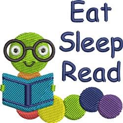 Eat, Sleep, Read embroidery design