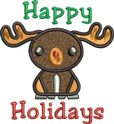 Happy Holidays Reindeer embroidery design
