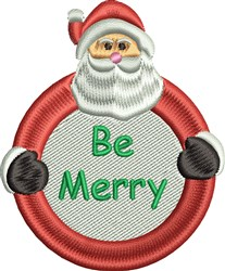Be Merry Santa embroidery design