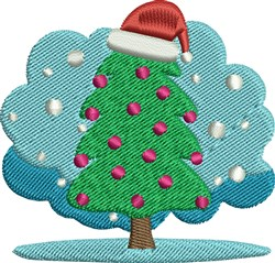 Santa Hat Christmas Tree embroidery design