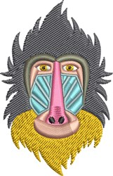 Baboon Head embroidery design