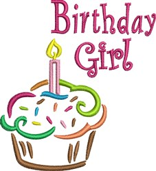 Birthday Girl Cupcake embroidery design