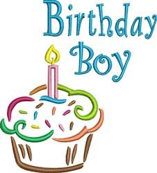 Birthday Boy Cupcake embroidery design