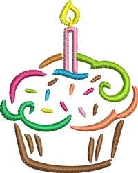 Birthday Cupcake embroidery design