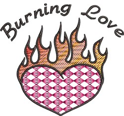 Flaming Heart Sayings embroidery design