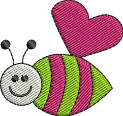 Happy Heart Bee embroidery design