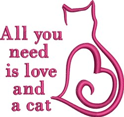 Heart Cat Ouline embroidery design