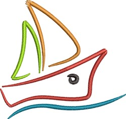 Sailboat on Water embroidery design
