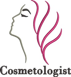 Cosmetologist Womans Profile embroidery design